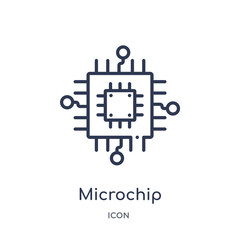microchip icon from programming outline collection. Thin line microchip icon isolated on white background.