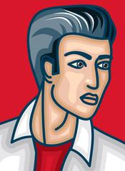 Close-up face of a cartoon man