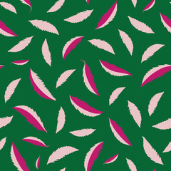 Freefalling hand drawn pink leaves on dark green background. High contrast fresh seamless vector pattern. Perfect for stationery, textiles, home decor, giftwrapping, packaging