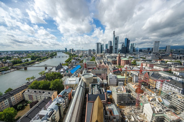 Fototapete - Summer panorama of the financial district in Frankfurt, Germany