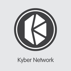 KNC - Kyber Network. The Icon of Money or Market Emblem.