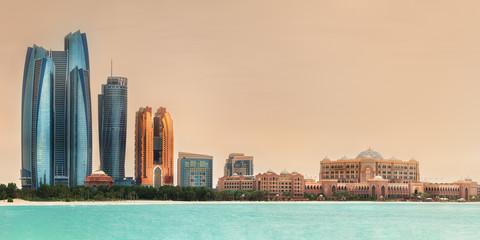View of Abu Dhabi Skyline on a sunny day, UAE