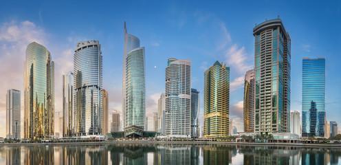 Jumeirah Lakes Towers in Dubai during sunny morning