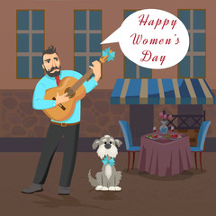Man with guitar stands near the restaurant and sings about Womans Day.