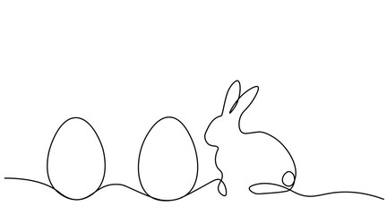 Easter bunny rabbit and egg, one lines drawing vector illustration.