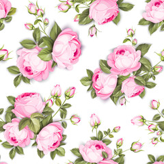 The Rose seamless background. Red Roses flowers on wallpaper, seamless pattern template. Vector illustration.
