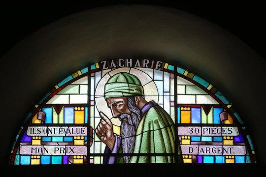 Zacharie. Vitrail. Eglise Saint-Jean-Baptiste. Taninges. / Zechariah. Stained glass. St. John the Baptist Church. Taninges.