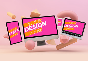 Floating Devices on Pink Background Mockup