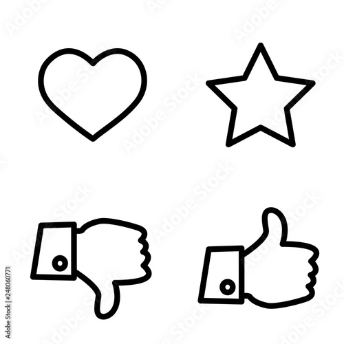Like Dislike Voting And Rating Vector Icon Set Hand With Thumb