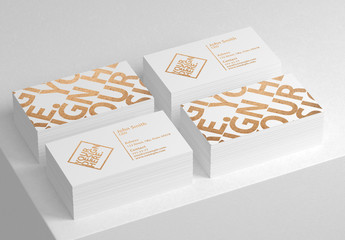 Stacked Business Cards on White Mockup