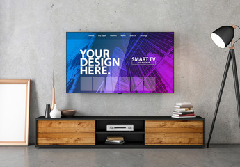 Smart TV with Contemporary Furniture Mockup