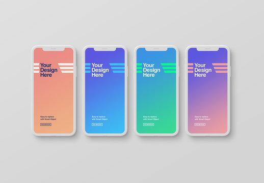 4 White Smartphone Mockups