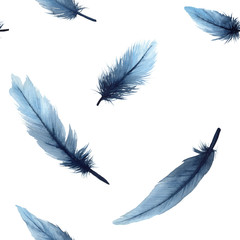 Watercolor feathers seamless pattern. Watercolour illustration falling blue feathers arranged in seamless pattern.