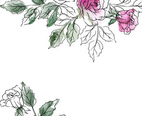 Floral frame, greeting card design. Background wish watercolor flowers roses, black line art, splash. For invitation, poster and other print products. Hand painting. Isolated on white background.