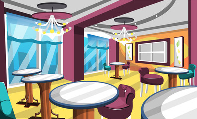 Clean Dirty Gelato Ice Cream Cafe With Fancy Chair And Table, Classic Lamp, Big Windows, Artistic Wall Picture For Vector Illustration Interior Ideas