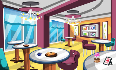 Gelato Ice Cream Cafe With Fancy Chair And Table, Classic Lamp, Big Windows, Artistic Wall Picture For Vector Illustration Interior Ideas