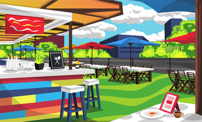 Clean Rooftop Cafe Outdoor With Big Table And Chair With Umbrella Cafe Tent, Bars Order, Foods, Bottles For Vector Illustration Restaurant Outdoor Ideas