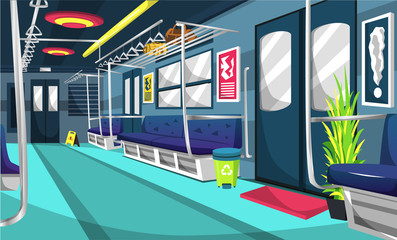 Clean Train Commuter Line Railway Compartment With Colorful Interior, Little Tree, Trash Can, Wall Picture, Floor Sign For Vector Illustration Ideas