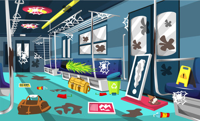 Dirty Train Commuter Line Railway Compartment With Colorful Interior, Little Tree, Trash Can, Wall Picture, Floor Sign For Vector Illustration Ideas