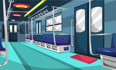 Train Commuter Line Railway Compartment With Colorful Interior, Little Tree, Trash Can, Wall Picture, Floor Sign For Vector Illustration Ideas