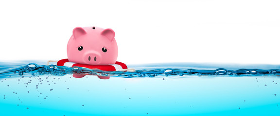 Piggy Bank In Life-ring Floating On Water - Financial Security Concept