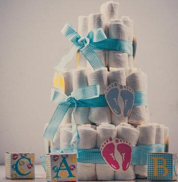 Baby shower baby shower cake tort ciasto diapers new born noworodek prezent