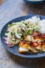 Soy and ginger glazed cod with fennel and onion salad