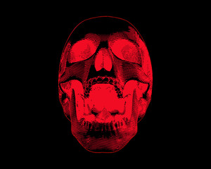 Red screaming skull illustration on dark BG
