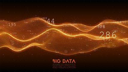 Fotoväggar - Big data orange wave visualization. Futuristic infographic. Information aesthetic design. Visual data complexity. Complex business chart analytics. Social network representation. Abstract data graph.
