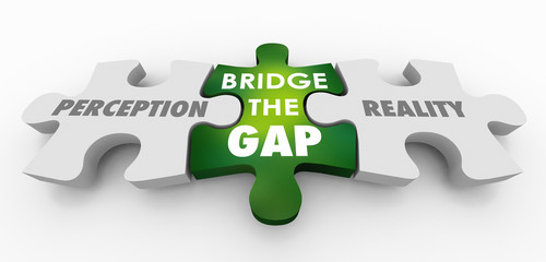 Perception Vs Reality Bridge the Gap Puzzle Pieces 3d Illustration