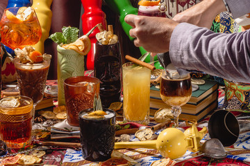Selection of colorful festive drinks, alcoholic beverages and cocktails in elegant glasses