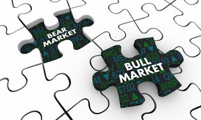 Bull Vs Bear Market Stock Prices Puzzle 3d Illustration