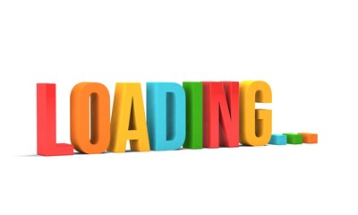 Loading word. 3D Render illustration in white background