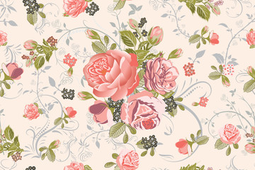 Living Coral Focal Point Rose Bouquet with Floral Swirls Repeat Seamless Pattern Swatch