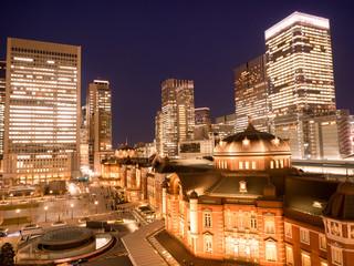 Wall Mural - 東京駅丸の内口と高層ビル街