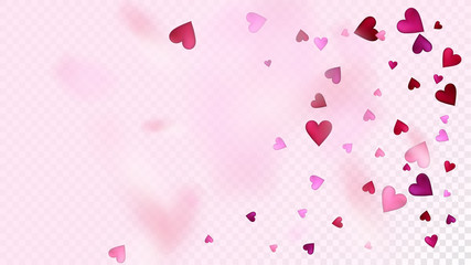 Realistic Hearts Vector Confetti. Valentines Day Romantic Pattern. Beautiful Pink Scatter Valentines Day Decoration with Falling Down Hearts Confetti. Rich VIP Gift, Birthday Card, Poster Background