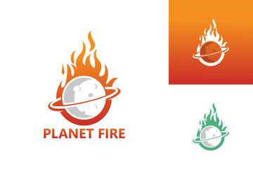 Planet Fire Logo Template Design Vector, Emblem, Design Concept, Creative Symbol, Icon