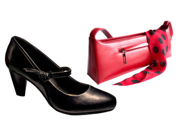 retro female leather shoe and red bag
