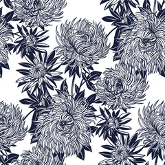 Blossoming Chrysanthemum or Aster flower composition seamless pattern