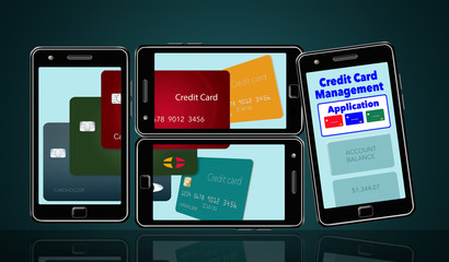 Here is an image about cell phone apps that help you manage and keep track of credit cards and credit card spending. Cards and the application appear on multiple phones.