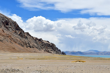 China, Tibet. The shore of lake Tery Tashi Nam  Co in summer cloudy day