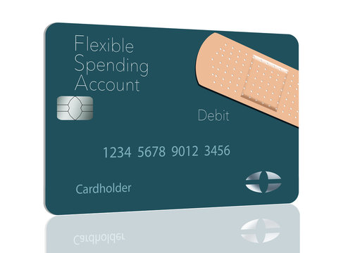 Here is a Flexible Spending Account medical insurance debit card in a modern design and is decorated with an adhesive bandaid to go with the medical spending theme.