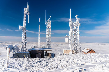 Snow Covered Communication Towers Atop Steptoe Butte.