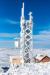 Snow Covered Communication Tower Atop Steptoe Butte.