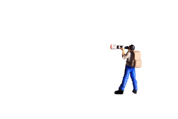 Mini Figure toy photographer take a photo, standing isolated on white