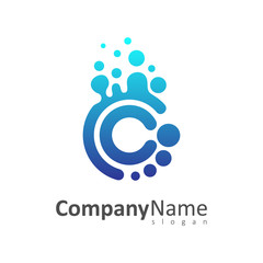 letter c and c with bubble shape logo design template, cc logo
