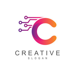 creative technology logo, letter c logo for tech and science