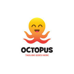yellow orange gradient smiling octopus logo with four tentacles. Vector