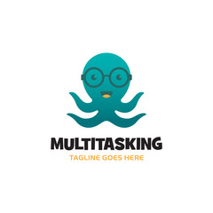 Green smiling octopus logo with glasses and four tentacles. Vector