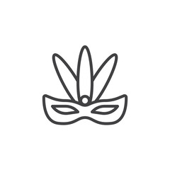 Carnival mask with feathers line icon. linear style sign for mobile concept and web design. Carnival eye mask outline vector icon. Symbol, logo illustration. Pixel perfect vector graphics